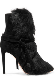 Gianvito Rossi Shearling-trimmed suede ankle boots