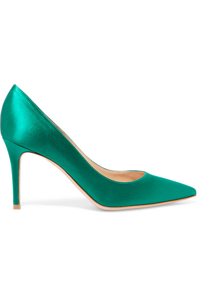 Gianvito Rossi - 85 Satin Pumps - Green