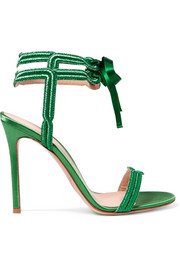Satin and lamé sandals