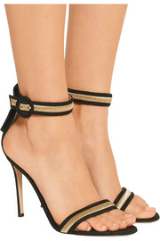 Gianvito Rossi Marshal metallic embroidered suede sandals