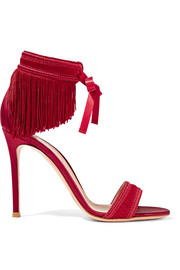 Fringed satin sandals