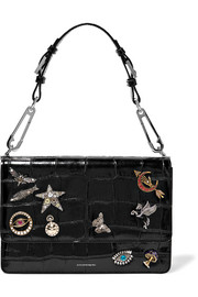 Embellished croc-effect leather shoulder bag