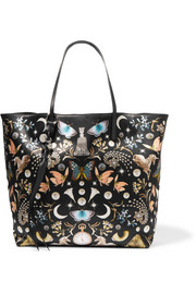 Alexander McQueen Leather-trimmed printed satin tote