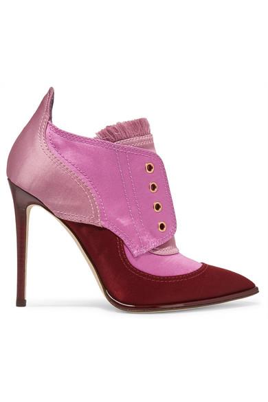 Jimmy Choo - Mitsu Fringed Paneled Satin Ankle Boots - Pink