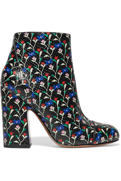 marc jacobs female 188971 marc jacobs cora printed glossed snakeeffect leather ankle boots black