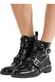 Taylor lace-up patent-leather ankle boots