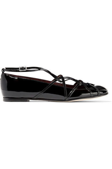marc jacobs female 188971 marc jacobs claudia ghillie patentleather ballet flats black