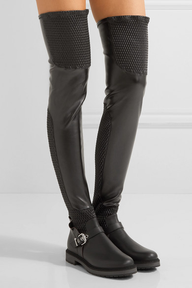 Fendi | Quilted stretch-leather over-the-knee boots | NET-A-PORTER.COM