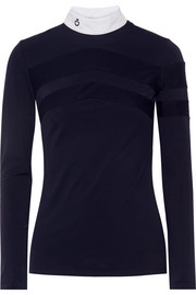 Technical Show poplin-trimmed stretch-jersey top
