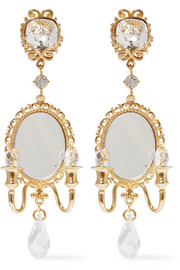 Gold-plated, Swarovski crystal and mirror clip earrings