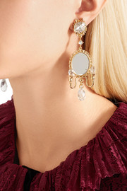 Dolce & Gabbana Gold-plated, Swarovski crystal and mirror clip earrings