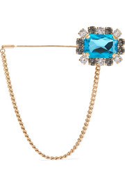 Gold-tone crystal brooch