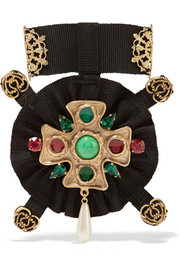 Dolce & Gabbana Gold-plated, Swarovski crystal and faux pearl grosgrain brooch