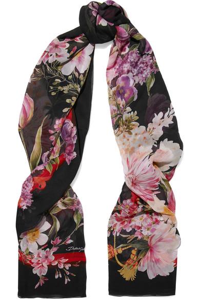 Dolce & Gabbana - Printed Silk-chiffon Scarf - Black