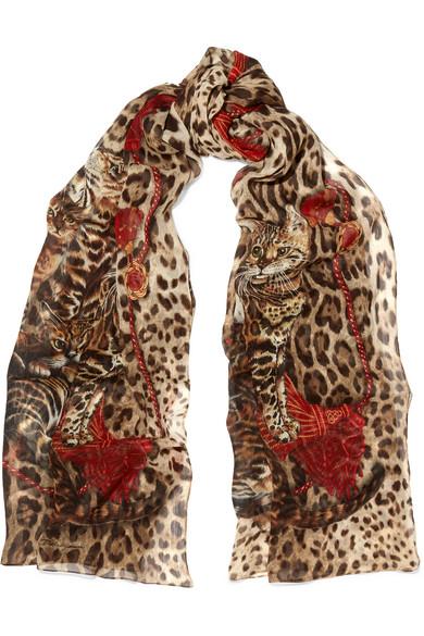 Dolce & Gabbana - Printed Silk-chiffon Scarf - Leopard print