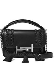 Double T small tasseled whipstitched leather shoulder bag