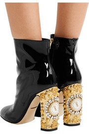 Dolce & Gabbana Embellished patent-leather ankle boots