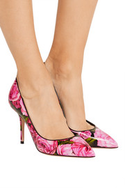 Printed glossed-leather pumps