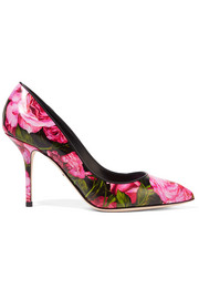Dolce & Gabbana Printed glossed-leather pumps