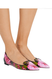 Dolce & Gabbana Printed glossed-leather point-toe flats
