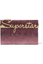 Superstar Vanity croc-effect leather clutch