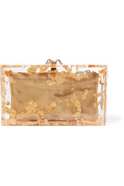 Charlotte Olympia Pandora foil-embellished perspex clutch