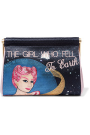 The Girl Who Fell To Earth Maggie embroidered crepe de chine clutch
