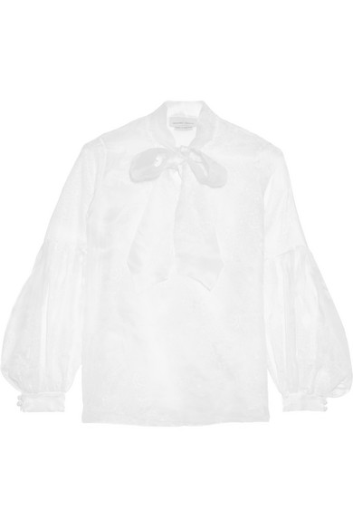 Merchant Archive - Pussy-bow Printed Silk-organza Blouse - Ivory