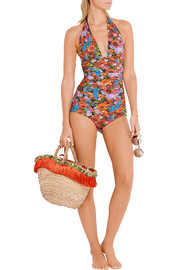 Dolce & Gabbana Printed ruched halterneck swimsuit