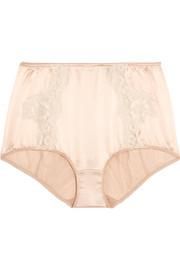 Lace-trimmed stretch-silk satin briefs