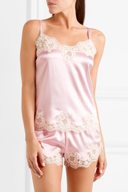 Dolce & Gabbana Lace-trimmed stretch silk-blend satin camisole