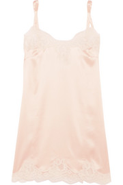 Lace-trimmed stretch silk-satin chemise