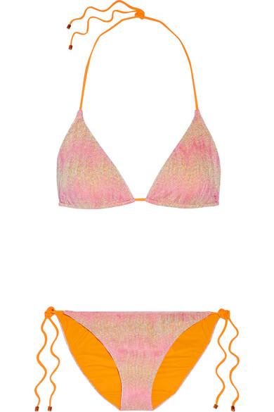 Missoni - Mare Metallic Crochet-knit Halterneck Bikini - Pastel pink