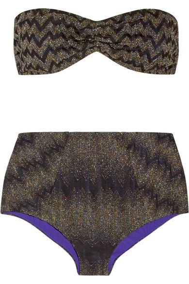 Missoni - Mare Metallic Crochet-knit Bandeau Bikini - Black