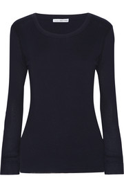 James Perse Ribbed cotton and cashmere-blend top
