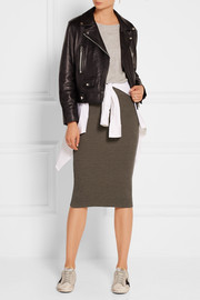 James Perse Ribbed stretch cotton-blend skirt