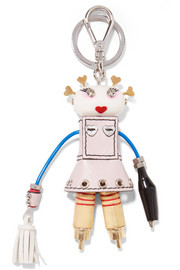 Cheerleader Robot leather keychain