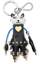 Cat Robot embellished textured-leather keychain