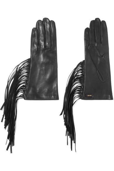 Prada - Fringed Leather Gloves - Black
