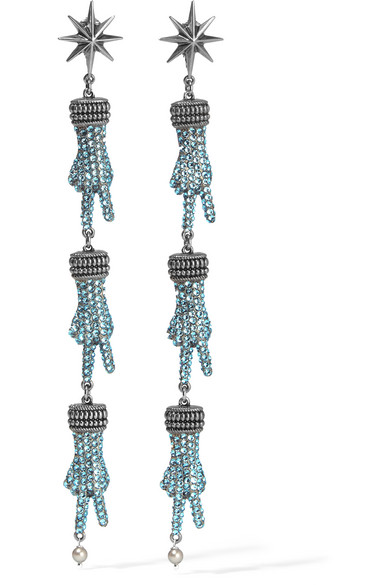 gucci female gucci silvertone swarovski crystal and faux pearl earrings one size