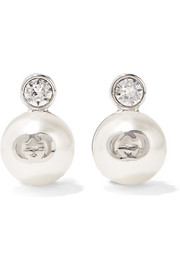 Silver-plated, Swarovski crystal and faux pearl clip earrings