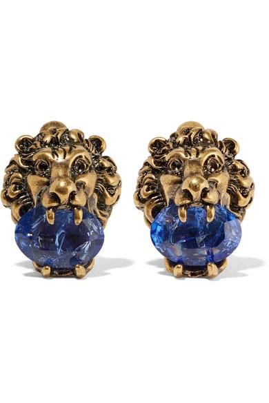 Gucci - Gold-tone Swarovski Crystal Clip Earrings
