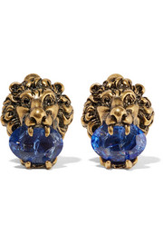 Gucci Gold-tone Swarovski crystal clip earrings