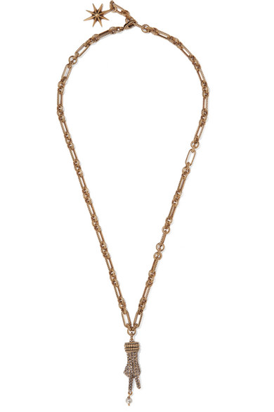 Gucci - Gold-tone, Crystal And Faux Pearl Necklace