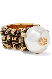 Burnished gold-tone faux pearl ring