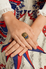 Gucci Gold-tone Swarovski crystal ring