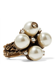 Gold-tone faux pearl ring