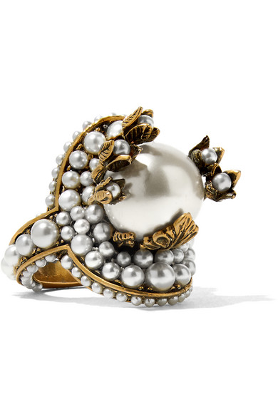 Gucci - Gold-tone Faux Pearl Ring