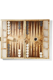 Faux shagreen and wood backgammon set