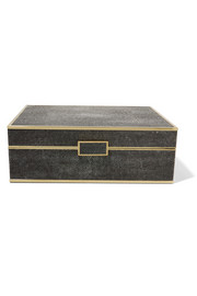 Large faux shagreen, wood and suede jewelry box